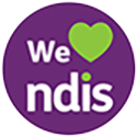 Round purple logo with text we, green heart, text ndis